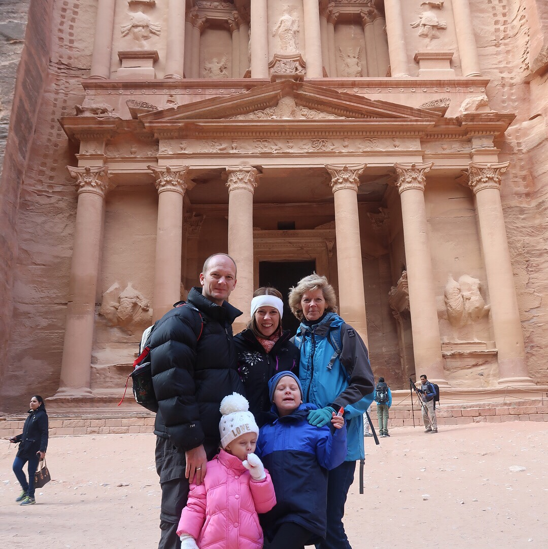 The Wanderlust Family outside the Treasury at Petra