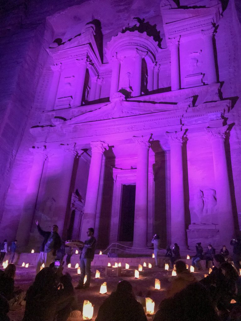 Jordan Itineraries - The Treasury at Petra lit up in purple