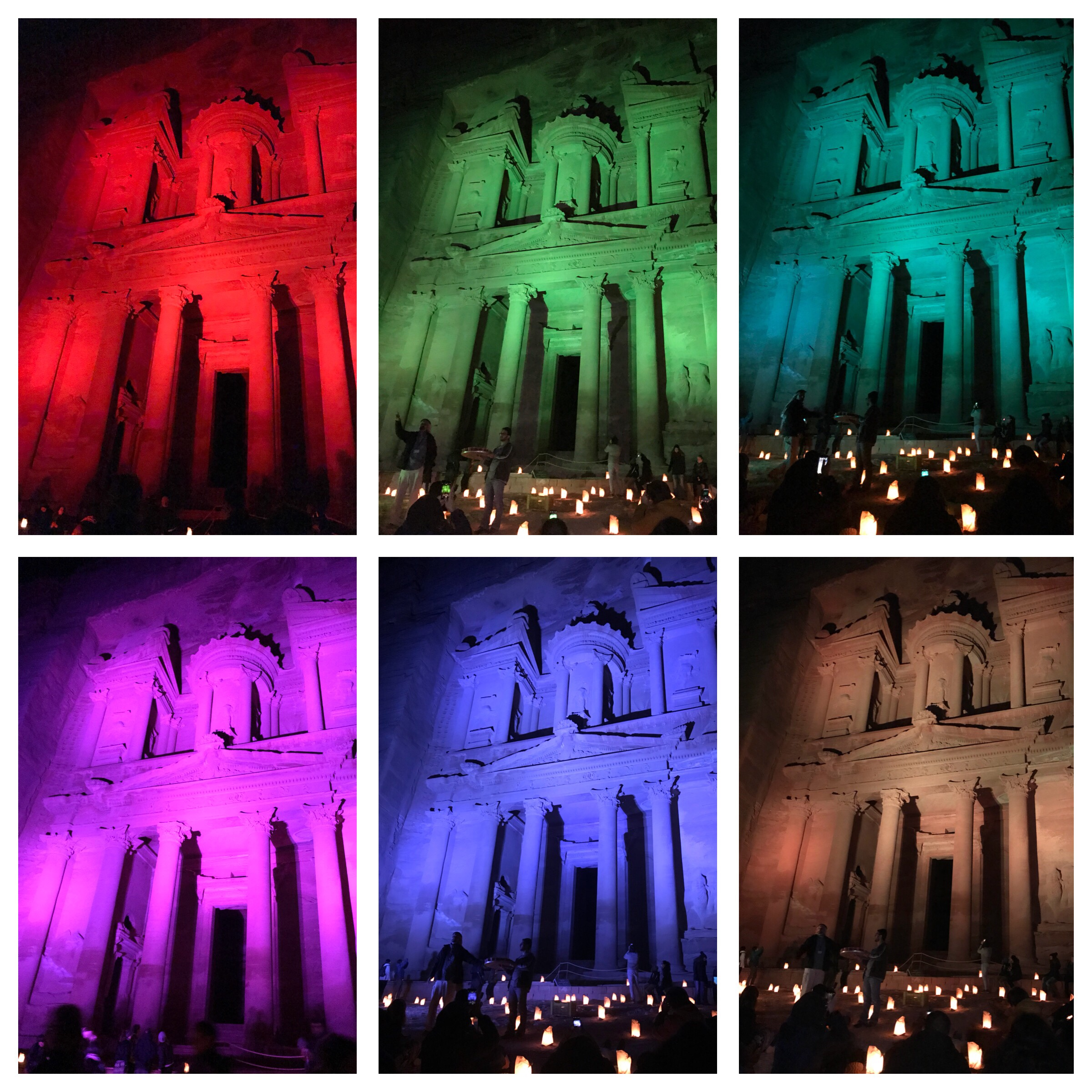 The Treasury lit up in (from left to right) red, green and turquoise (top) and purple, blue and orange (bottom)