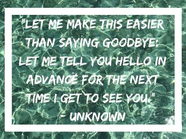 Let me make this easier than saying goodbye: Let me tell you hello in advance for the next time I get to see you. - Unknown