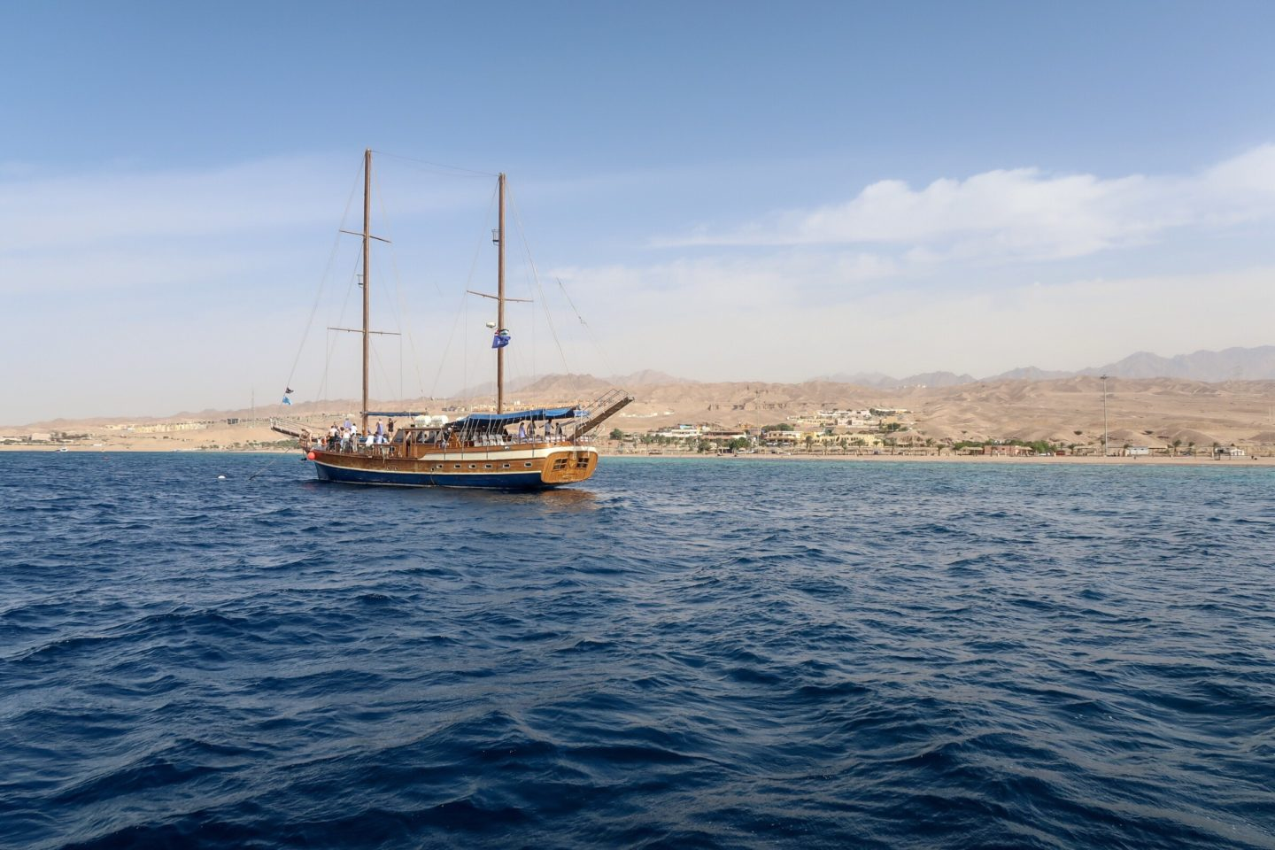 Jordan Itineraries - Traditional sailing yacht off the coast of Aqaba