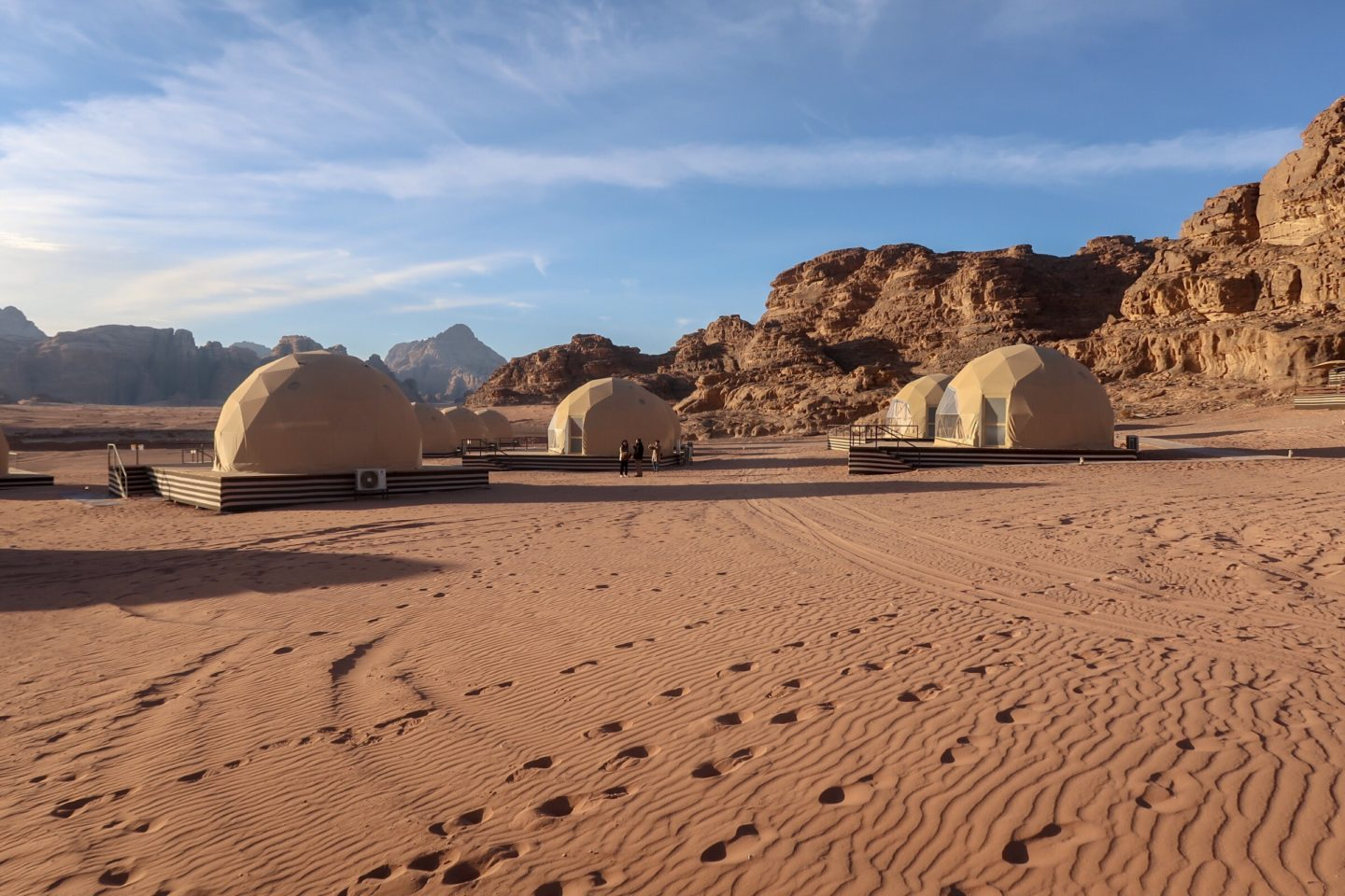 A series of the Martian tents in the middle of the desert - Jordan Adventures Part 4 - Wadi Rum