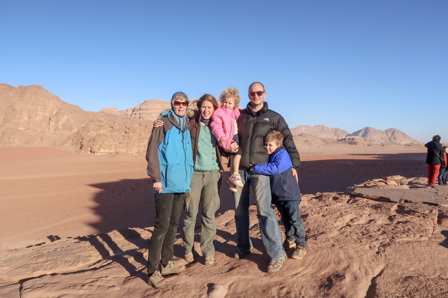 Wanderlust family photo in Wadi Rum - Jordan Adventures Part 4 - Wadi Rum