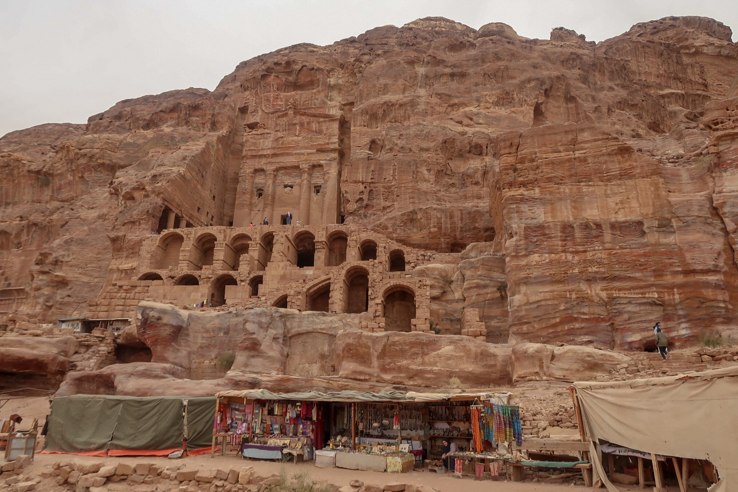 Some of the Royal Tombs above some little stalls set up at the side of the path