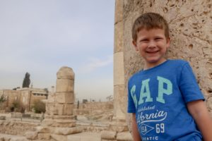 Thing 1 exploring the ruins in Amman