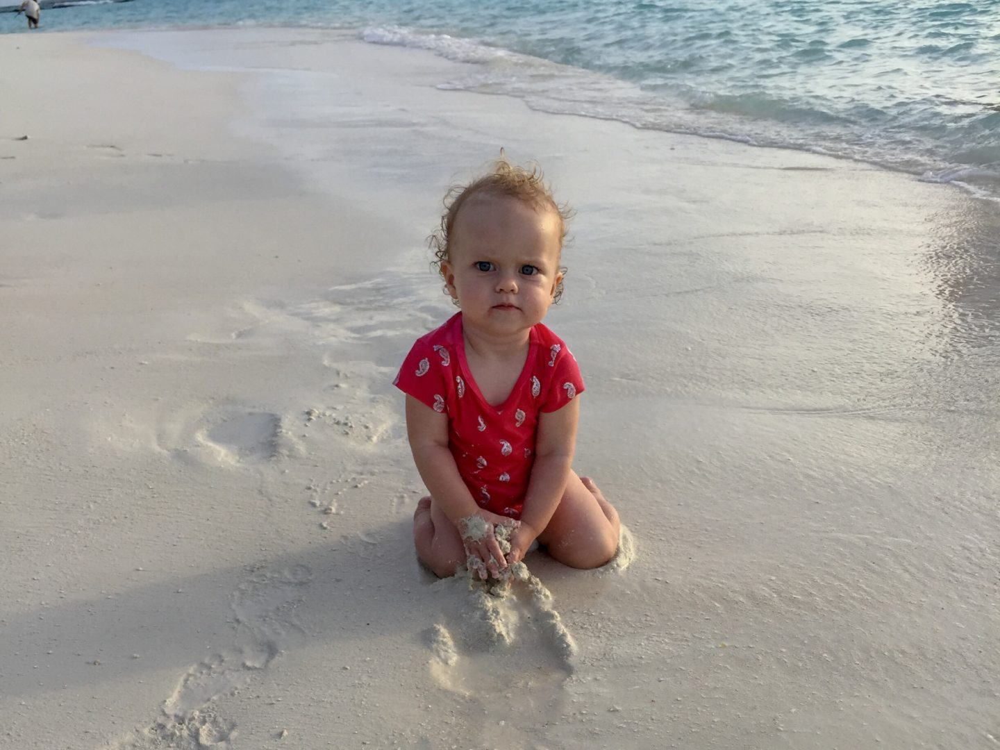 Thing 2 on a Maldivian beach