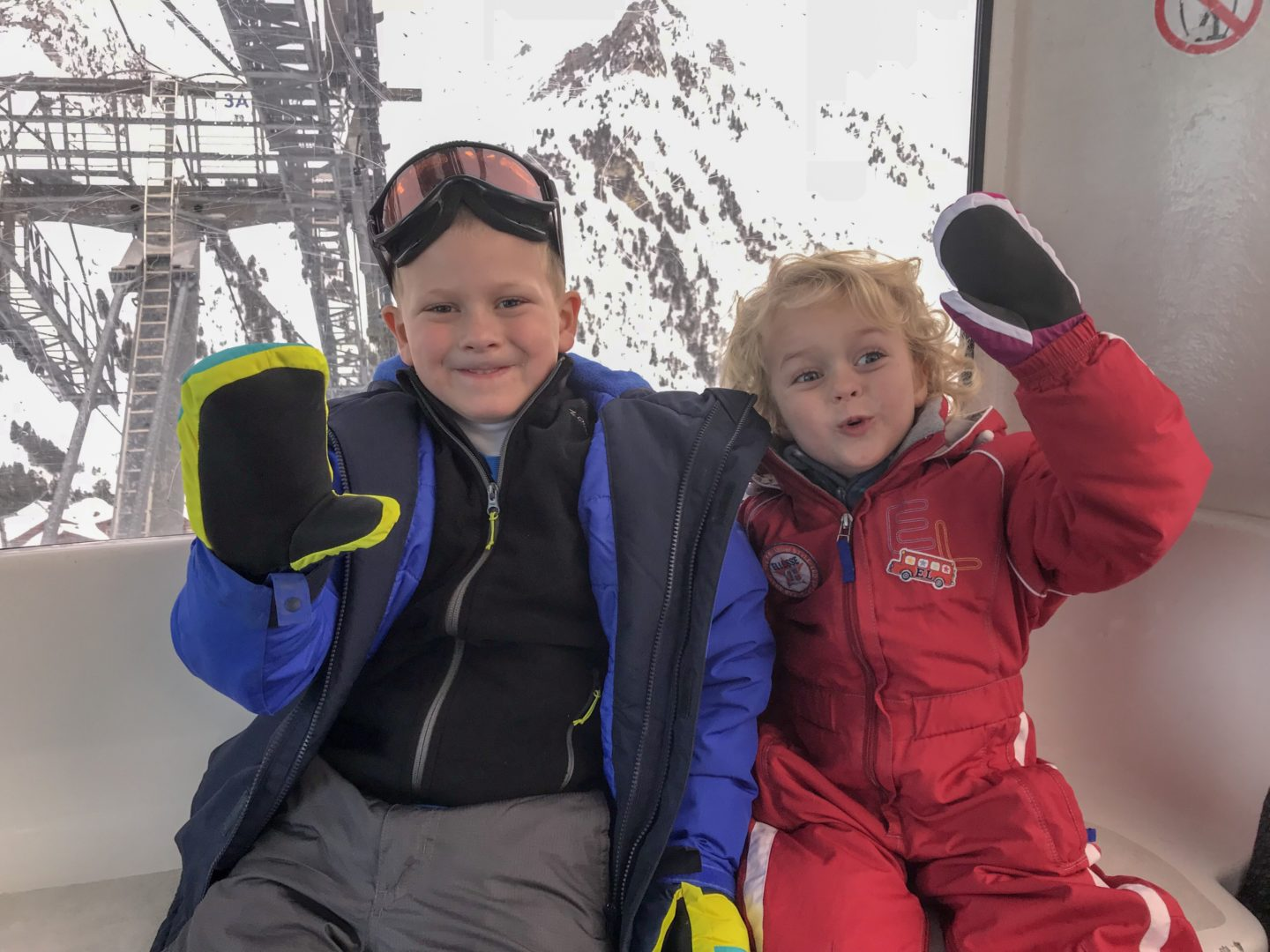 Lessons learned from travelling with kids - Thing 1 and Thing 2 in their ski gear
