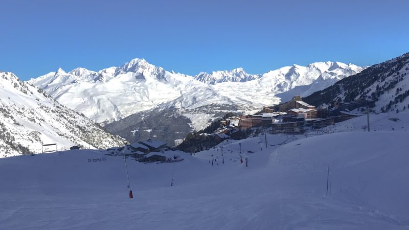 Best Family Ski Holiday - view of Les Arcs 2000 with mountains behind