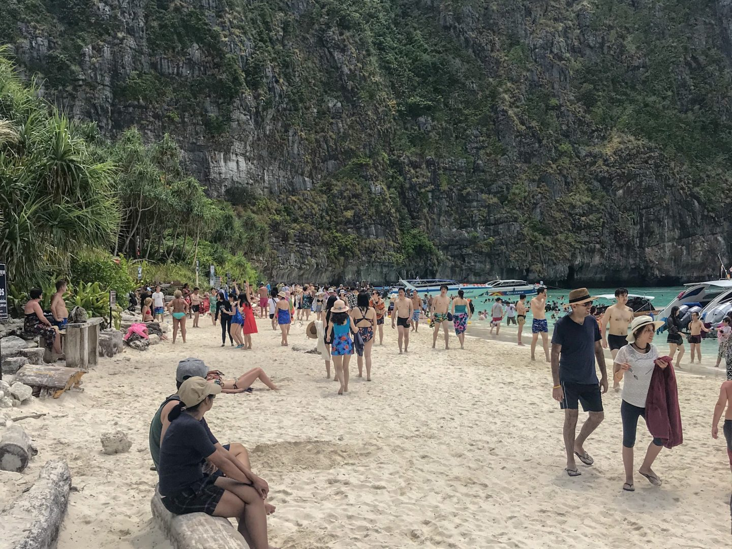 Responsible Tourism - view of Maya Beach and some of the thousands of people that visit it daily
