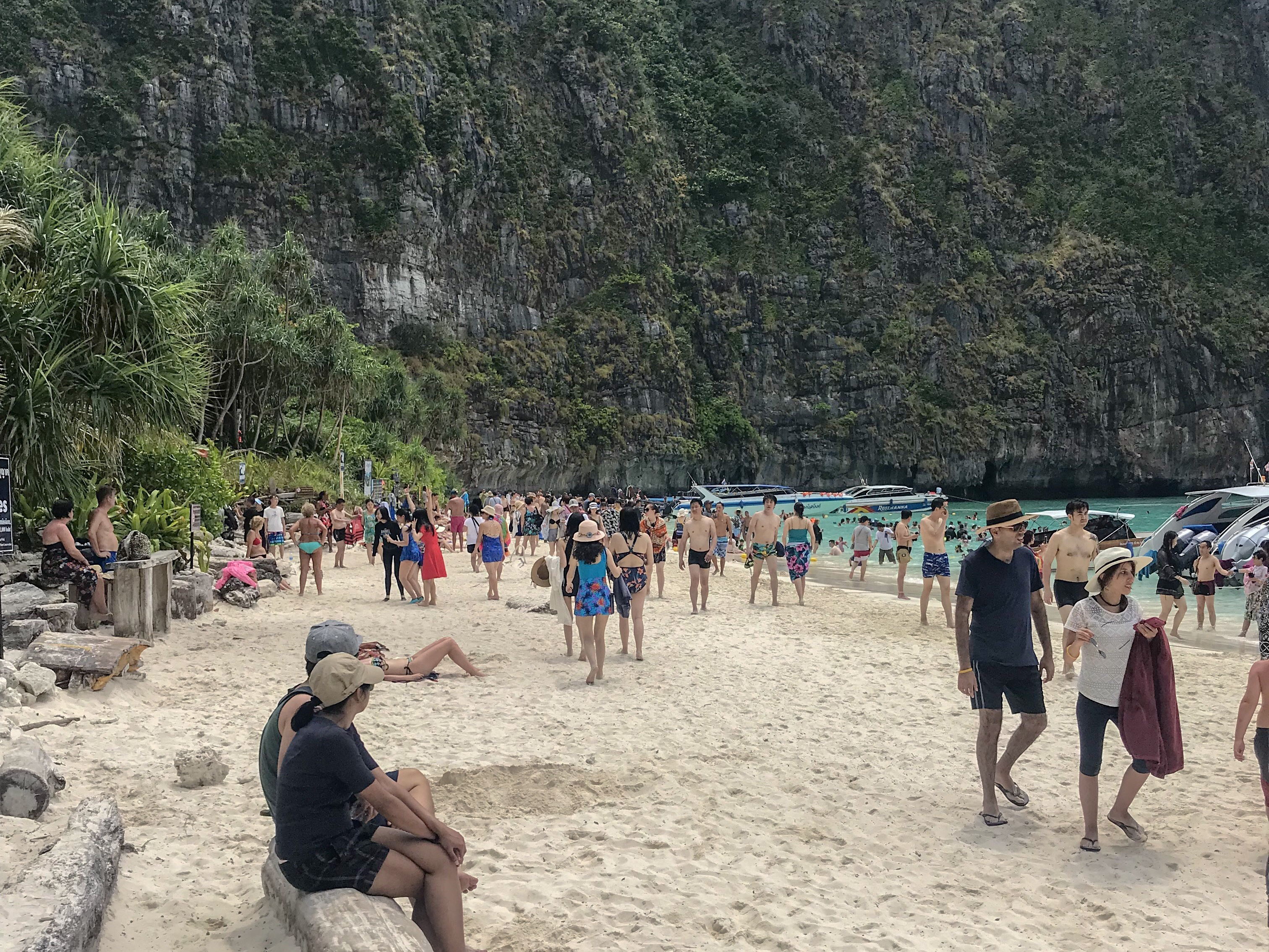 Paradise - another view of Maya Beach and the incredible numbers of people there